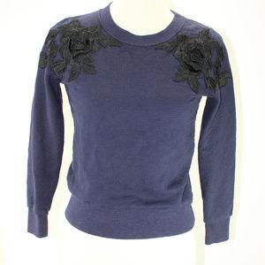 J Crew XXS Navy Sweatshirt  W/ Floral Applique'